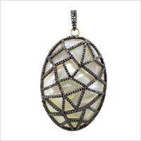 Pearl Gemstone Pave Diamond Pendant