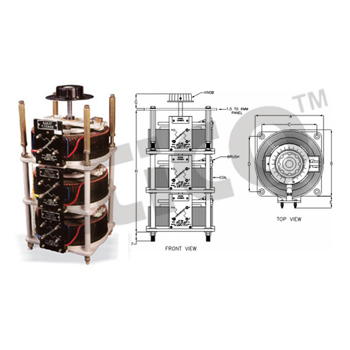 Variac - Three Phase Flush Back Of Panel, Open