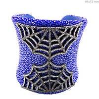 Spider Web Silver Open Diamond Cuff Bangle