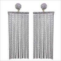 Pave Diamond Silver Chain Tassel Earrings
