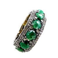 Emerald Eternity Band Silver Ring