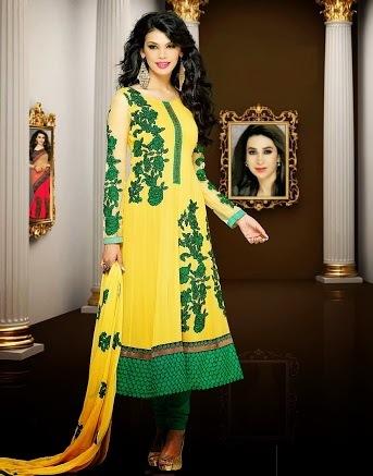Yellow & Green Georgette Anarkali Suits
