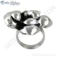 925 Sterling Plain Silver Ring In Flower Style, Wholesale Plain Silver Ring With Good Quality