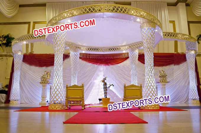 Latest Golden Fiber Crystal Mandap Set