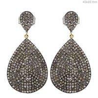 Diamond Pave Drop Dangle Silver Earring