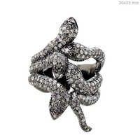 Pave Diamond Sterling Silver Snake Ring
