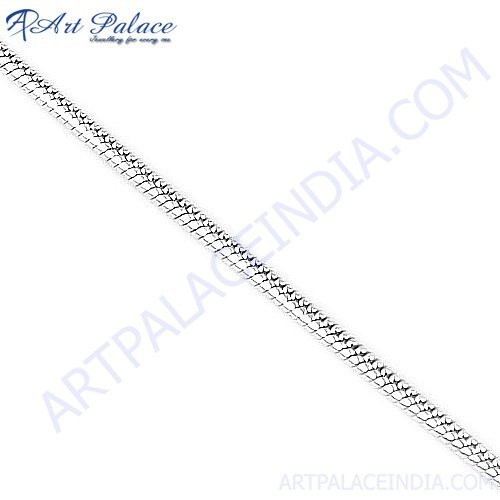 Simple Plain Silver Chain, 925 Sterling Silver