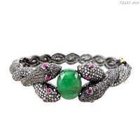 Emerald Diamond Ruby Silver Snake Bangle