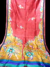 100% Hand made and hand painted tussar sarees