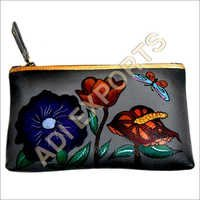 Flower Paint Leather Purse