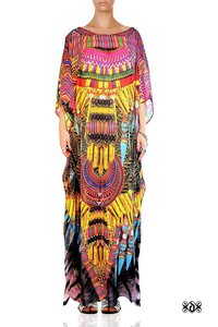 Digital Print African Tribal Long Beaded Kaftan