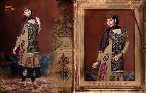 Beige Black Velvet Anarkali Suit