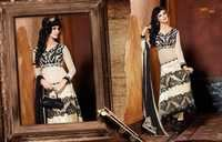White-Black Viscose Georgette Anarkali Suit