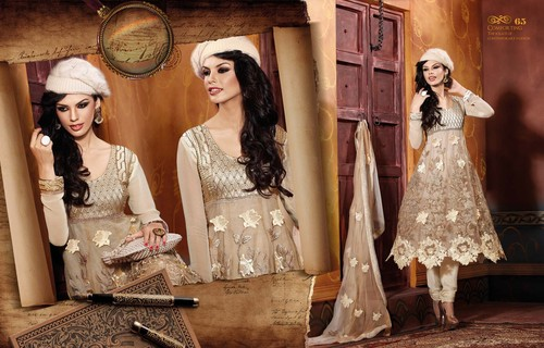 Beige Viscose Georgette Cut Worked Anarkali Suit