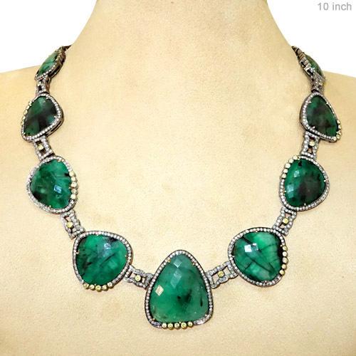 Emerald Gemstone Gold Diamond Necklace