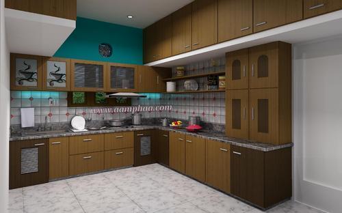 Teak Wood Colour Kitchen Images