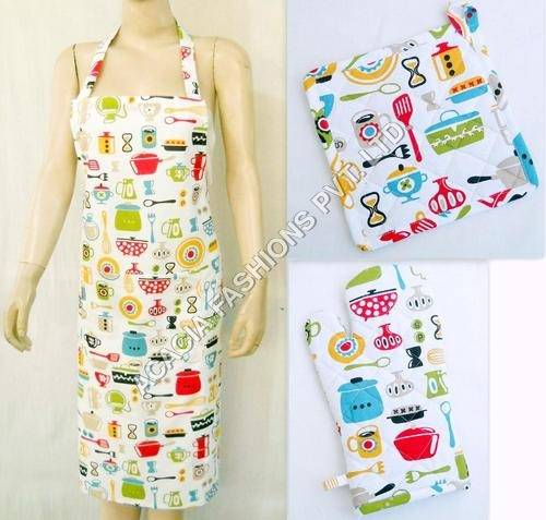 Apron , Glove , pot holder set