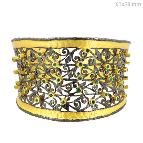 Emerald Silver Filigree Cuff Bangle