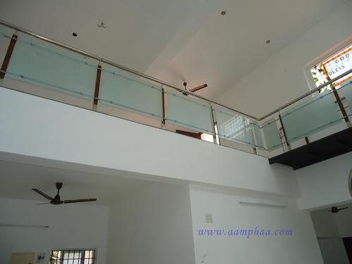 Frosted Glass with Wooden Handrail