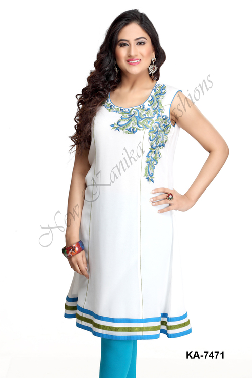 Sleeveless Embroidery Kurti