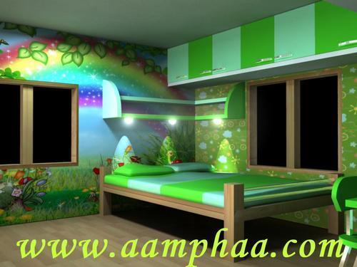 Green color bedroom 3d model