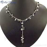 Fashion 925 Sterling Silver Black Onyx & Crystal Necklace Jewelry,