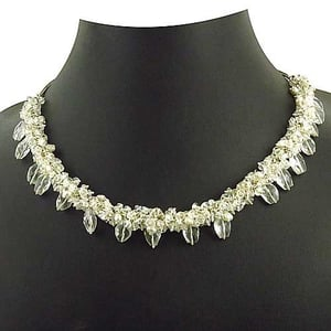 925 Sterling Silver Crystal With Pearl Beads Necklace Jewelry,