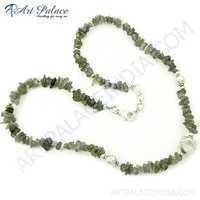 Green Labradorite Beads Silver Necklace Jewelry, Beaded Jewelry