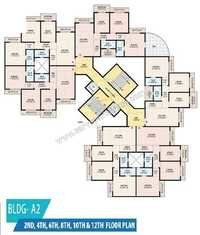 Building A2: 2nd,4th,6,8,10 & 12th Floor Plan