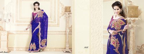 Blue Net Saree