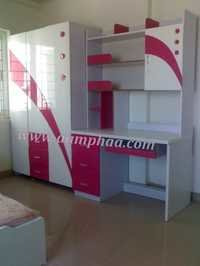 Kids Bedroom Wardrobe with Study Table
