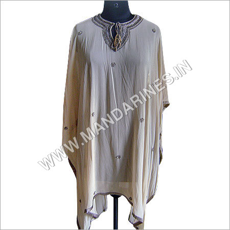 Beige sequin work kaftan