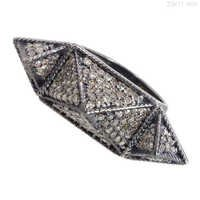 Vintage Diamond Pave Silver Ring