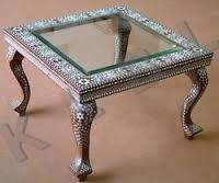 WOODEN TABLE WITH GLASS