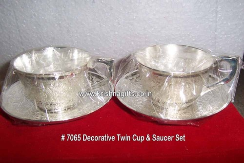 Decorative Silver Cup n Saucer Set
