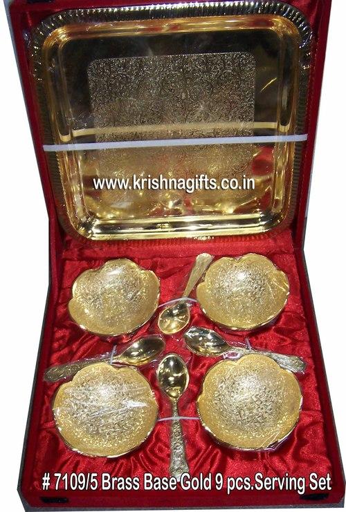 Gold-BrassBase 9pc Serving Set