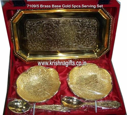 Gold-Brass Base 5pc Serving Set