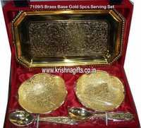 Gold-Brass Base 5pc Serving Set