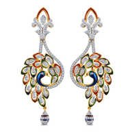Dazzling Diamond Peacork Earring