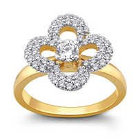 Glittering Sparkle Floral Ring