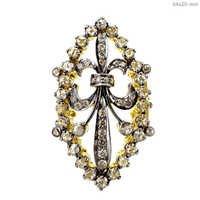 Fleur-de-lis Diamond Gold Silver Ring
