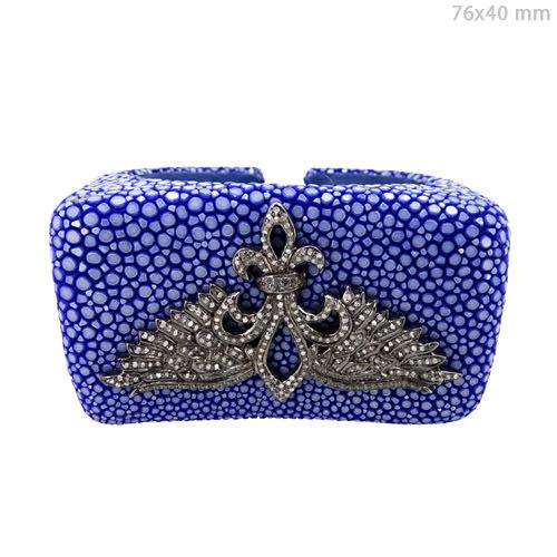 Stingray Fleur-de-lis Silver Open Diamond Bangle