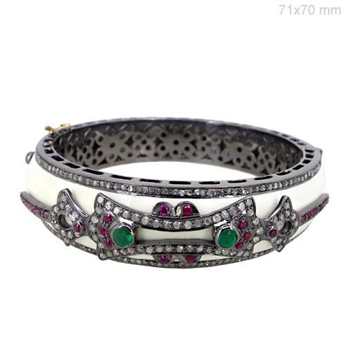 Ruby Emerald Gemstone Diamond Pave Bangle