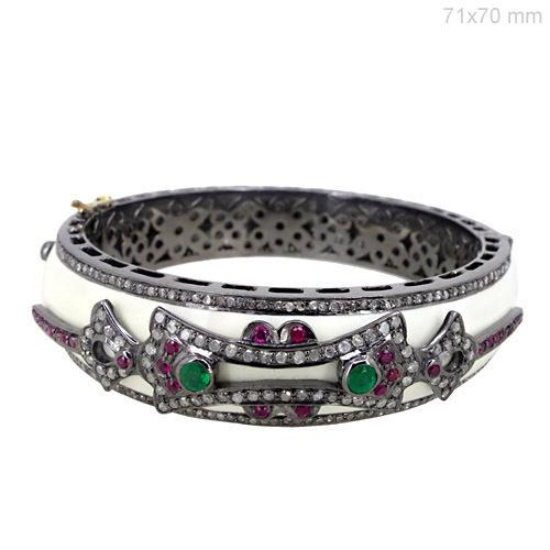 Ruby Emerald Gemstone Diamond Pave Bangle