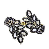 Rainbow Moonstone Gemstone Diamond Bangle