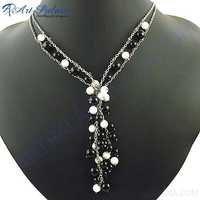 New Latest Black Onyx Stones Necklace Jewelry, 925 Sterling Silver Jewelry