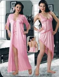 Short Two pcs Satin Nighty For Bedroom Wear