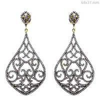 Diamond Pave Filigree Silver Dangle Earrings