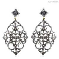 Diamond Pave Silver Filigree Long Earrings