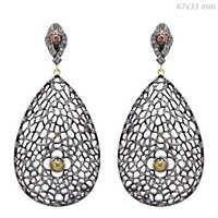 Natural Diamond Pave Silver Filigree Drop Earrings